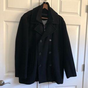 Calvin Klein Mens Wool Pea Coat Black Large